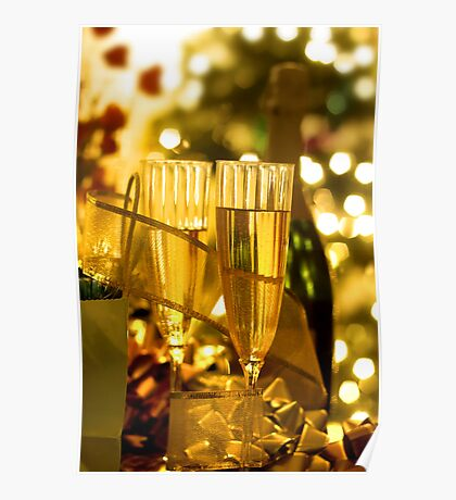 Two champagne glasses Poster