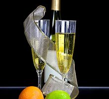 Two champagne glasses and bottle by snehit