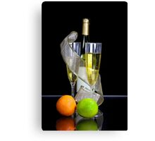Two champagne glasses and bottle Canvas Print
