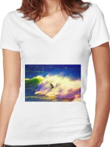Surf Dreams Women's Fitted V-Neck T-Shirt