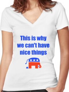 Anti-Republican Humor Women's Fitted V-Neck T-Shirt