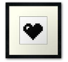 Black Pixel Heart Framed Print