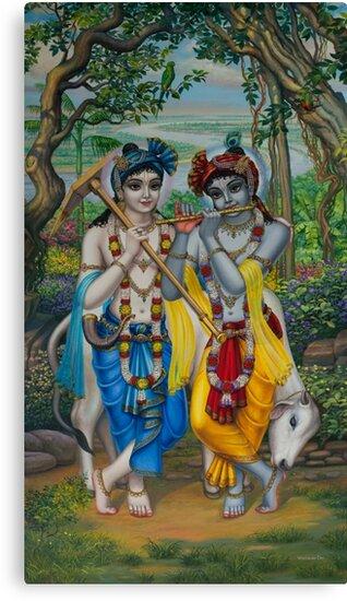 Krishna and Balaram by Vrindavan Das