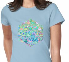 Art Deco Watercolor Patchwork Pattern 1 Womens Fitted T-Shirt