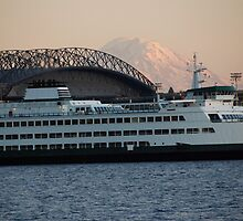 Seattle Rainier Sunset by John Schneider