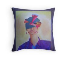 Galaxy girl with fabric crown and peacock feather Throw Pillow