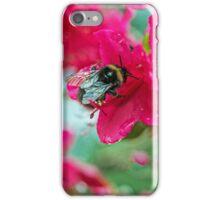 Bumble Bee on Red Azalea Flower iPhone Case/Skin