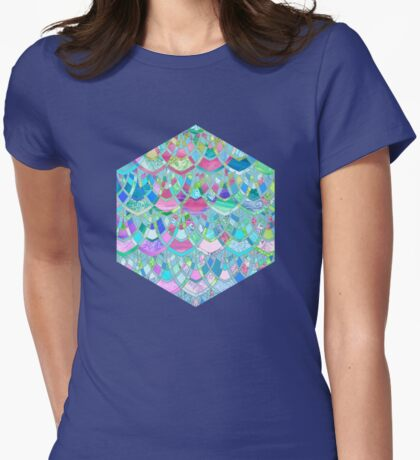 Art Deco Watercolor Patchwork Pattern 2 Womens Fitted T-Shirt