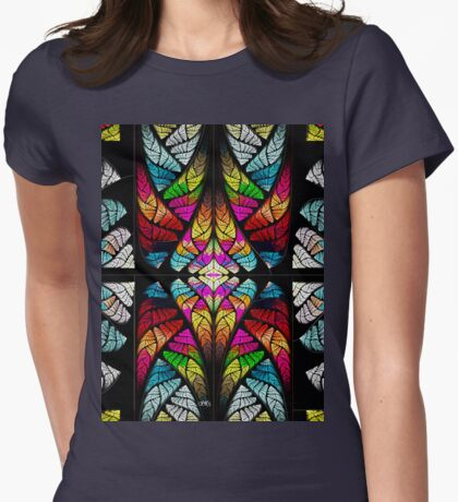 stained glass fractal Womens Fitted T-Shirt