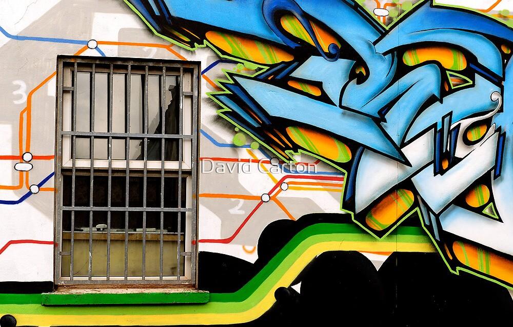Open window, and urban art by David Carton