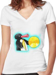 blue pingu Women's Fitted V-Neck T-Shirt