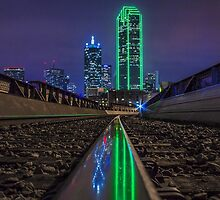 Train track reflection of Dallas skyline by josephhaubert