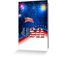 USA Patriotic Flag and Fireworks Greeting Card