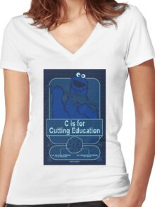 C is for Cutting Education Women's Fitted V-Neck T-Shirt