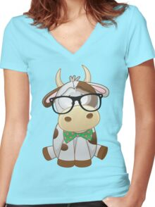 Hipster baby cow  Women's Fitted V-Neck T-Shirt