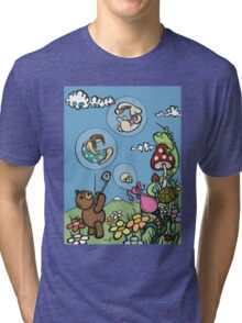Teddy Bear And Bunny - The Bubble Flower Tri-blend T-Shirt