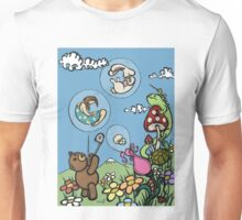 Teddy Bear And Bunny - The Bubble Flower Unisex T-Shirt