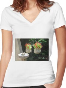 Begonia Wrap Women's Fitted V-Neck T-Shirt