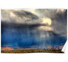 Rain over Catalina Mountains, Tucson AZ Poster
