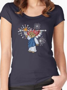 Patriotic Liberty Bear on Red Women's Fitted Scoop T-Shirt
