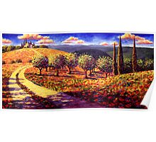 Tuscany Olive Grove Road Home Poster