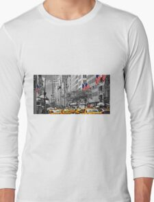 yellow cabs on 5th Ave with Stars and Stripes  Long Sleeve T-Shirt