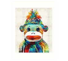 Sock Monkey Art - Your New Best Friend - By Sharon Cummings Art Print