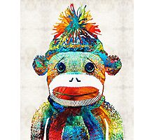 Sock Monkey Art - Your New Best Friend - By Sharon Cummings Photographic Print