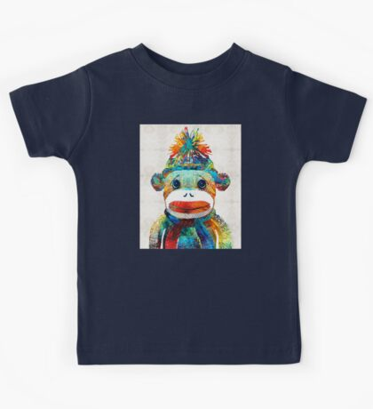 Sock Monkey Art - Your New Best Friend - By Sharon Cummings Kids Tee
