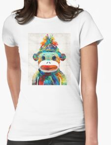 Sock Monkey Art - Your New Best Friend - By Sharon Cummings Womens Fitted T-Shirt
