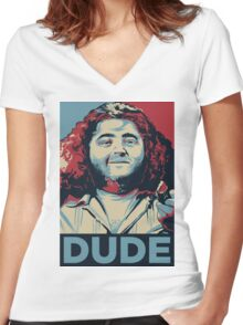 DUDE, It's Hurley Reyes from the TV show LOST Women's Fitted V-Neck T-Shirt