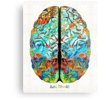 Colorful Brain Art - Just Think - By Sharon Cummings Metal Print