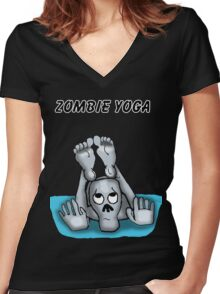 Zombie Yoga  Women's Fitted V-Neck T-Shirt