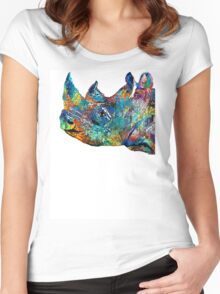 Rhino Rhinoceros Art - Looking Up - By Sharon Cummings Women's Fitted Scoop T-Shirt