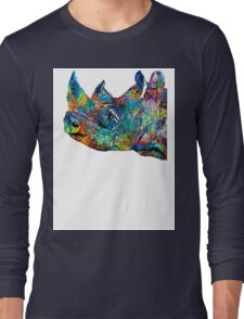 Rhino Rhinoceros Art - Looking Up - By Sharon Cummings Long Sleeve T-Shirt
