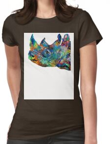 Rhino Rhinoceros Art - Looking Up - By Sharon Cummings Womens Fitted T-Shirt