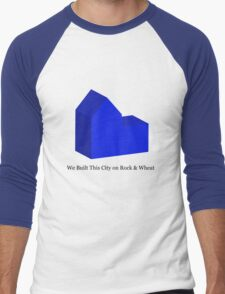 We Built This City on Rock & Wheat (BLUE) Men's Baseball ¾ T-Shirt