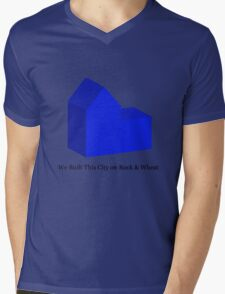 We Built This City on Rock & Wheat (BLUE) Mens V-Neck T-Shirt