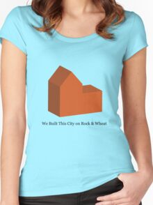 We Built This City on Rock & Wheat (ORANGE) Women's Fitted Scoop T-Shirt