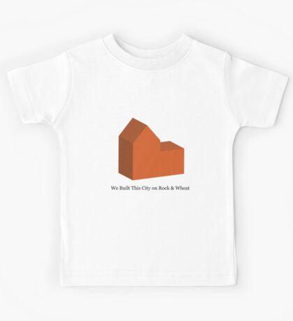 We Built This City on Rock & Wheat (ORANGE) Kids Tee