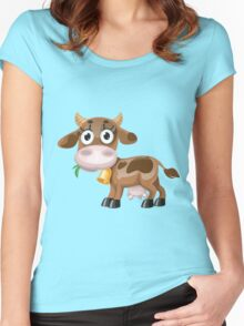Little cow with bell  Women's Fitted Scoop T-Shirt