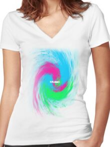 Colorful Crazy Music T-shirt Women's Fitted V-Neck T-Shirt