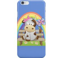 Lovely cow girl with rainbow iPhone Case/Skin