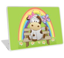 Lovely cow girl with rainbow Laptop Skin