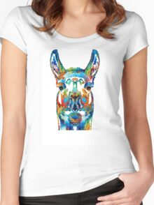 Colorful Llama Art - The Prince - By Sharon Cummings Women's Fitted Scoop T-Shirt
