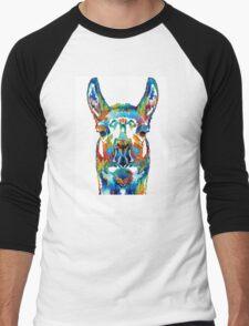 Colorful Llama Art - The Prince - By Sharon Cummings Men's Baseball ¾ T-Shirt