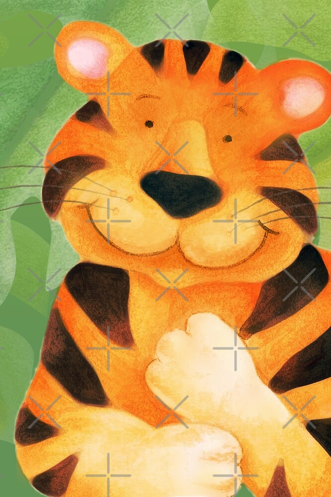 Whimsical tiger painting by Sarah Trett
