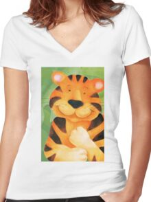 Whimsical tiger painting Women's Fitted V-Neck T-Shirt
