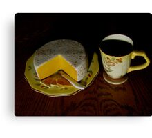Having Coffee With Cheese And Crackers Canvas Print