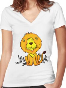 Cute Little Lion graphic drawing Women's Fitted V-Neck T-Shirt